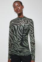 Superbalist - Printed mesh tee - black & green