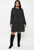 Glamorous - Plus messy spot tunic - black & white