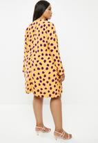 Glamorous - Plus messy spot tunic - yellow & purple