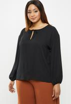 edit Plus - Sheer balloon sleeve blouse - black