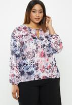 edit Plus - Sheer balloon sleeve blouse - multi