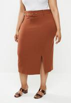 Glamorous - Plus belted pencil skirt - rust