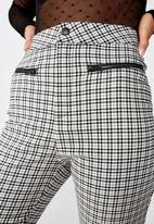 Factorie - Stretch check pant - black & white