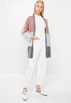 Jacqueline de Yong - Newelanor long sleeve cardigan - grey & pink