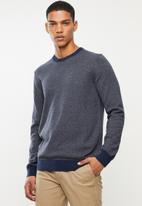 Selected Homme - Braden cot crew neck knit - blue
