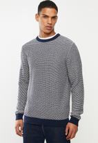 Selected Homme - Aiden camp crew neck sweater - blue & white