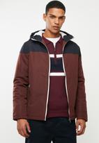 Brave Soul - Koeman colour block jacket - burgundy & navy