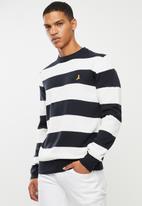 Brave Soul - Tamson stripe crew knitwear - navy & white