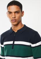 Brave Soul - Webster 1/4 zip knitwear - navy & green