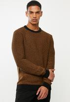 Selected Homme - Aiden camp crew neck sweater - black & brown