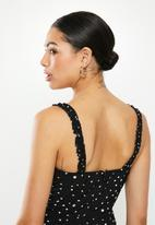 Glamorous - Messy spot spaghetti strap jumpsuit - black & white
