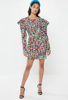 Glamorous - Petite scatter spot mini with puff sleeve - multi