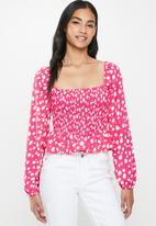 Glamorous - Petite square neck blouse - pink & white