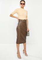 Glamorous - Brown pu 3/4 skirt - brown