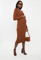 Glamorous - Maternity bodycon rust midi - rust