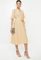 Glamorous - Tie belted wrap dress - stone
