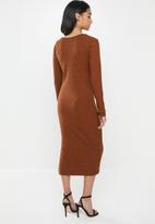 Glamorous - Petite bodycon midi  - brown