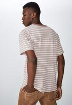 Cotton On - Graduate stripe tee - dirty mauve & white