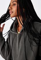 Factorie - Oversized heavy washed fleece jacket - charcoal