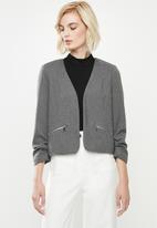 Vero Moda - Inez 3/4 zip blazer - grey