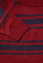 Superbalist - Lightweight stripe crew neck knit - burgundy & navy