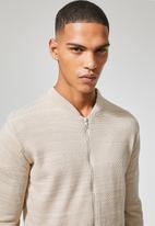 Superbalist - Zip through knit bomber - beige