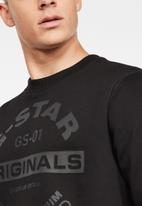 G-Star RAW - Originals logo graphic sweater - black