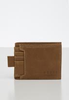 BOSSI - Leather disrch wallet - tan