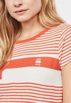G-Star RAW - Litmic stripe one slim tee - off white & orange
