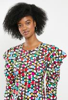 Glamorous - Scatter spot mini with puff sleeve - multi