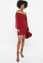 Blake - Bardot mini dress - burgundy
