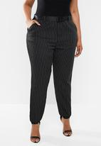 Missguided - Plus size stripe cargo trousers - black