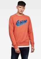 G-Star RAW - Fast raglan graphic sweater - coral