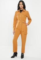 Glamorous - Petite ginger military jumpsuit - orange
