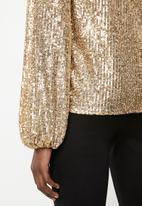 MILLA - Sequin round neck blouse with balloon sleeve - gold