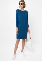 edit - Drapey knit dress - teal