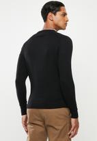 Superdry. - Orange label cotton crew sweater - black