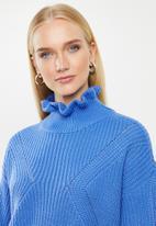 Vero Moda - Glendora siska long sleeve high neck blouse - blue