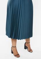 VELVET - Pleated midi skirt - blue