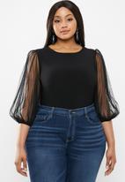 MILLA - Pleated sleeve bodysuit - black