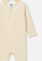 Cotton On - The rib snap romper - yellow & white