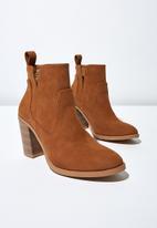 Cotton On - Nala cut out boot  - tan nubuck