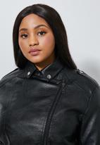 Superbalist - Pu biker jacket (plus) - black