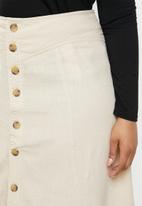 Carmakoma - Plus palm linen mix button skirt - neutral