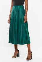VELVET - Pleated midi skirt - pacific green