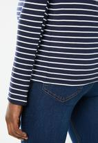 edit Maternity - Long sleeve boat neck tee - navy & white