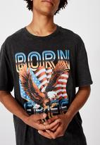 Factorie - Born free regular graphic T-shirt - washed black