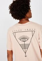 Factorie - Other times curved graphic T-shirt - peach