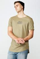 Factorie - Hells kitchen curved graphic T-shirt - khaki