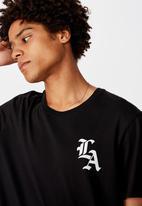 Factorie - Los Angeles gothic curved graphic T-shirt - black